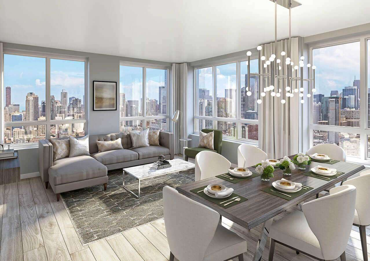 Contemporary living spaces have condo-level finishes throughout, The Hudson Chicago