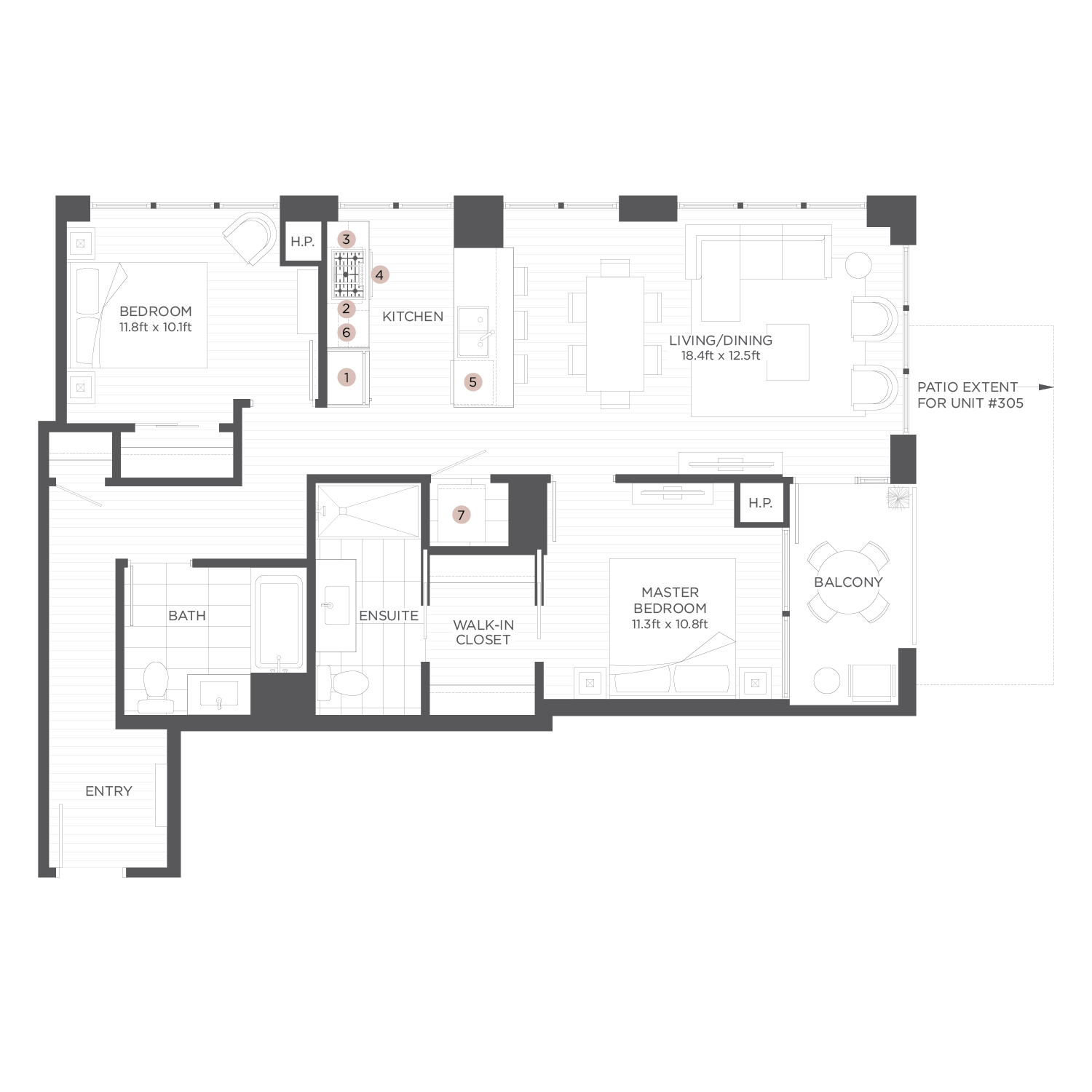 floorplans the hudson by onni chicago luxury rental apartments plan b2